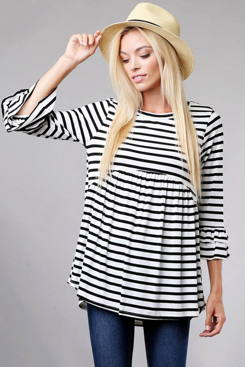 Striped Babydoll Top - Ivory/Black