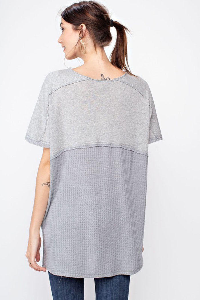 Harper Boxy Solid Top : Heather Grey