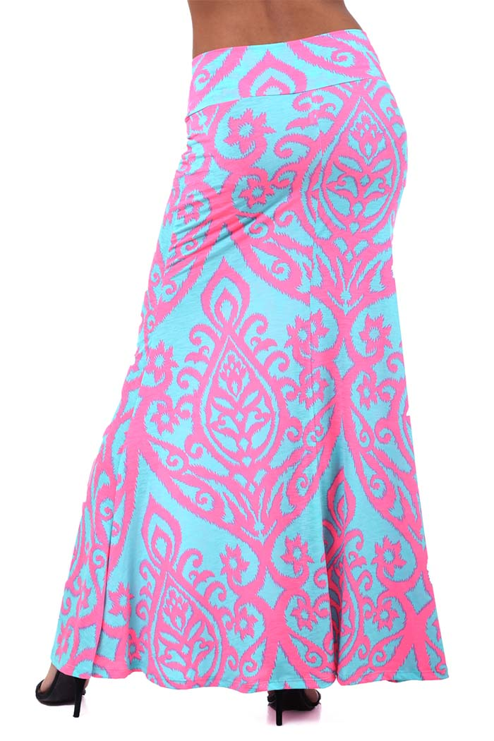 Multicolored Two Tone Printed Maxi Skirt