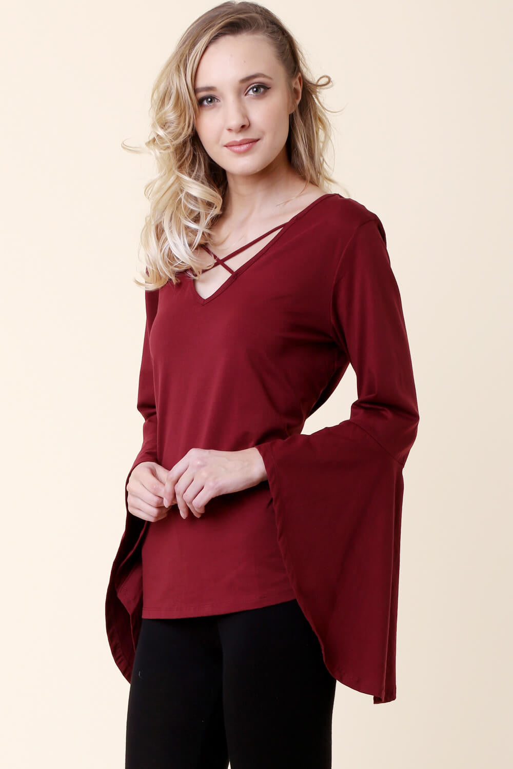 Criss Cross Bell Sleeves Top - shirts - GOZON