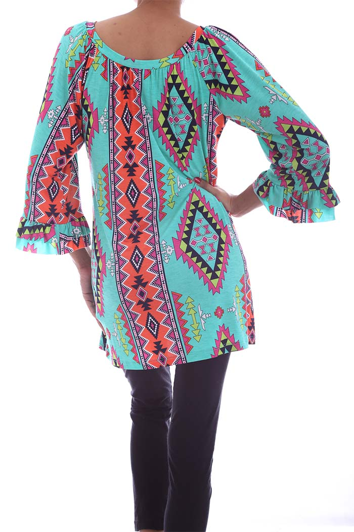 Multicolored 3/4 Sleeve Aztec Printed Top with Bell Sleeves