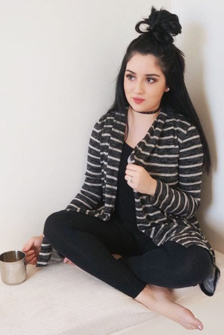 Zoey Stripe Cardigan : Black