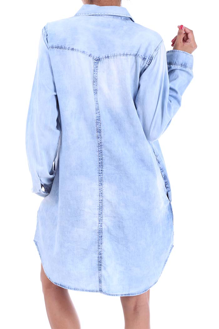Long Denim Chambray Dress