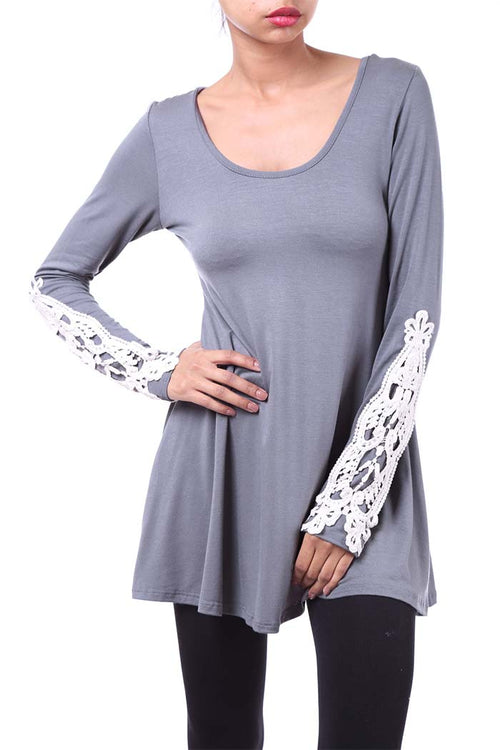Hemmed Lace Sleeve Top