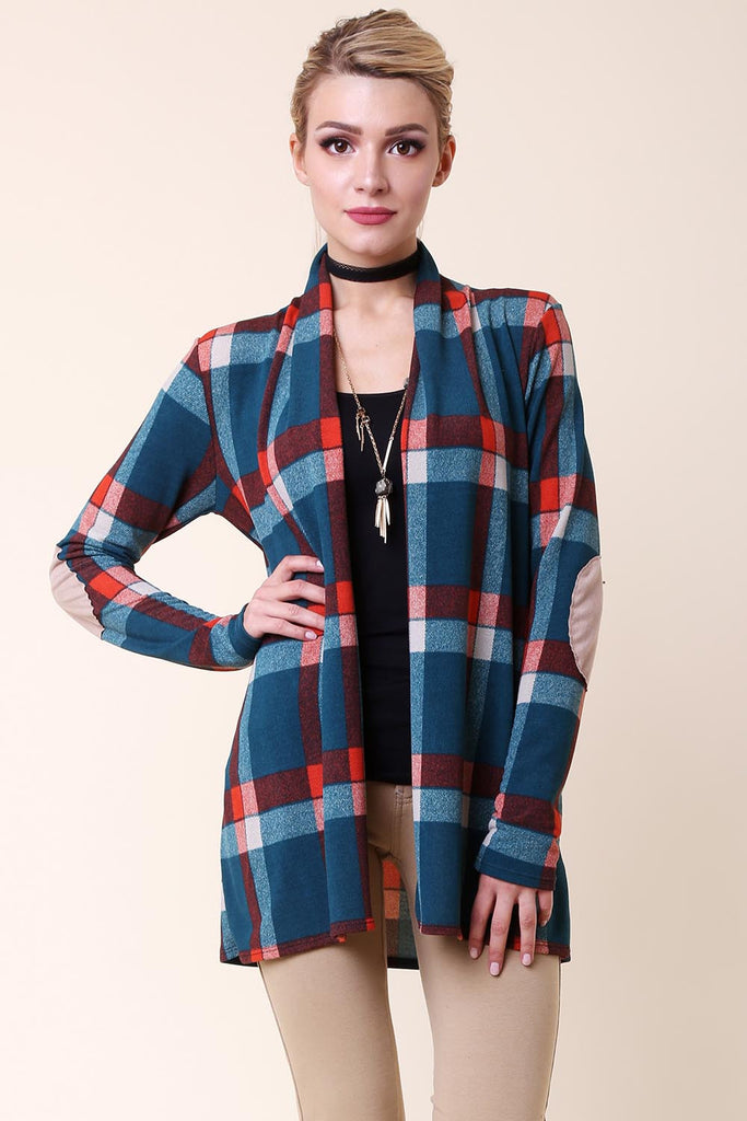 Suede Patched Plaid Cardigan - Cardigans - GOZON
