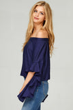 Long Ruffle Sleeve Top - Shirts - GOZON