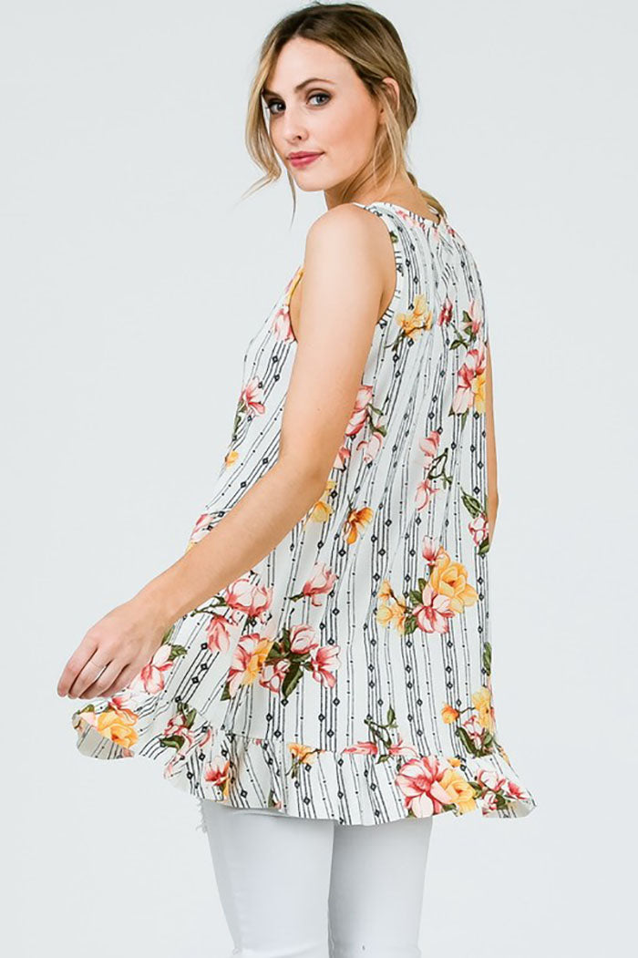 Rosalyn Sleeveless Floral Top : Ivory