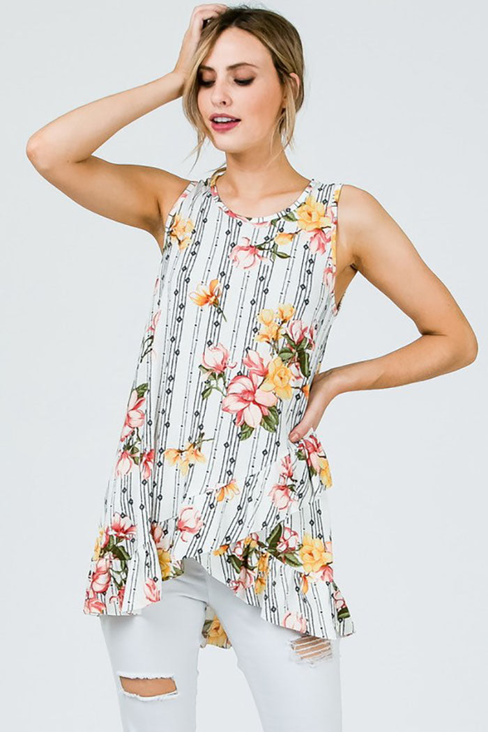 Rosalyn Sleeveless Floral Top : Navy