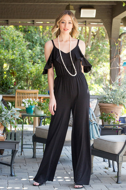 Piper Cold Shoulder Jumpsuits : Black