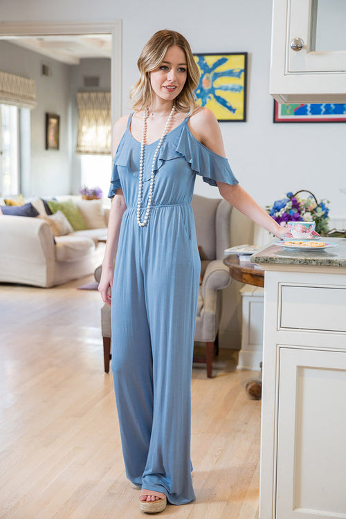 Piper Cold Shoulder Jumpsuits : Chambray