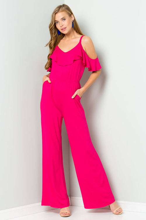Piper Cold Shoulder Jumpsuits : Fuchsia