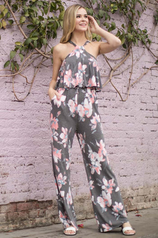 1867488a26 Alexa Floral Halter Back Ties Jumpsuit : Charcoal. $12.99. Simple Casual  Maxi ...