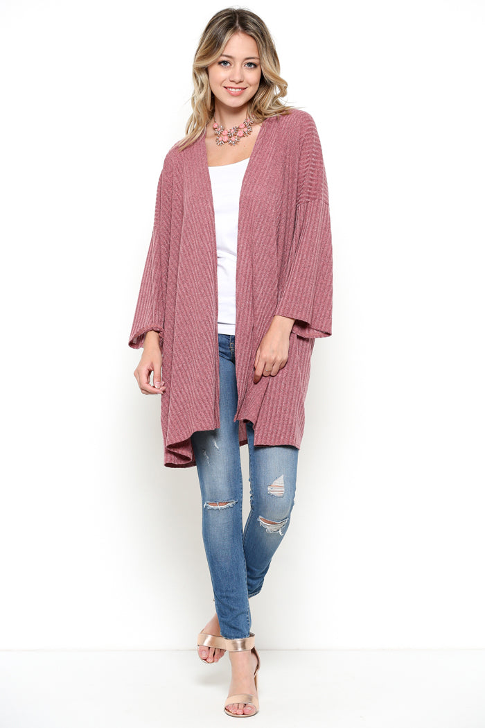 Loose Sweater Cardigan : Mauve
