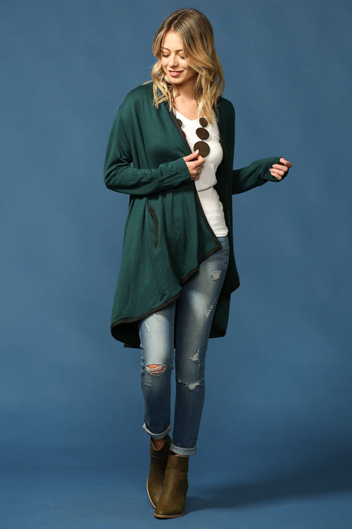Everyday Basic Cardigan : Hunter green