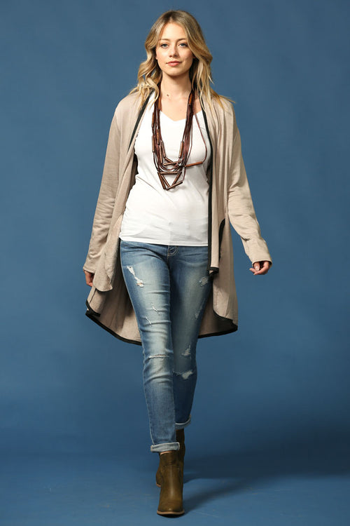 Everyday Basic Cardigan : Taupe