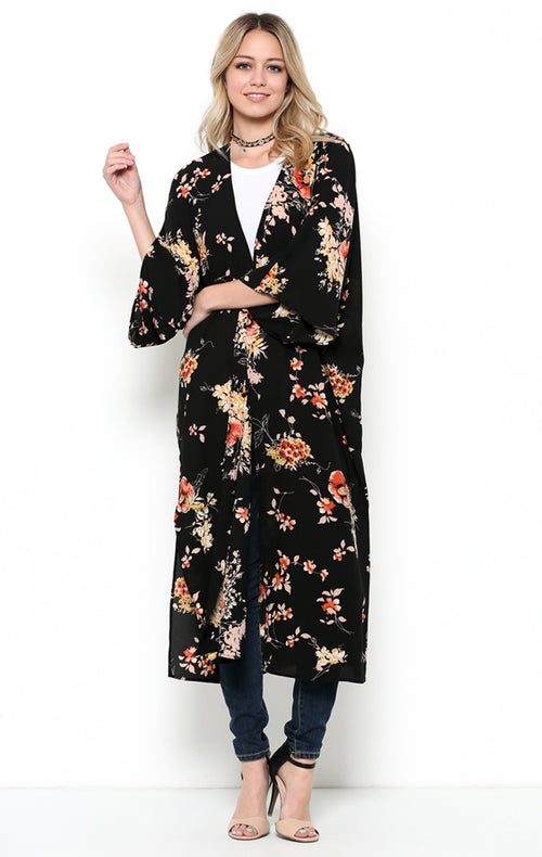 Chic Floral Long Cardigan : Black