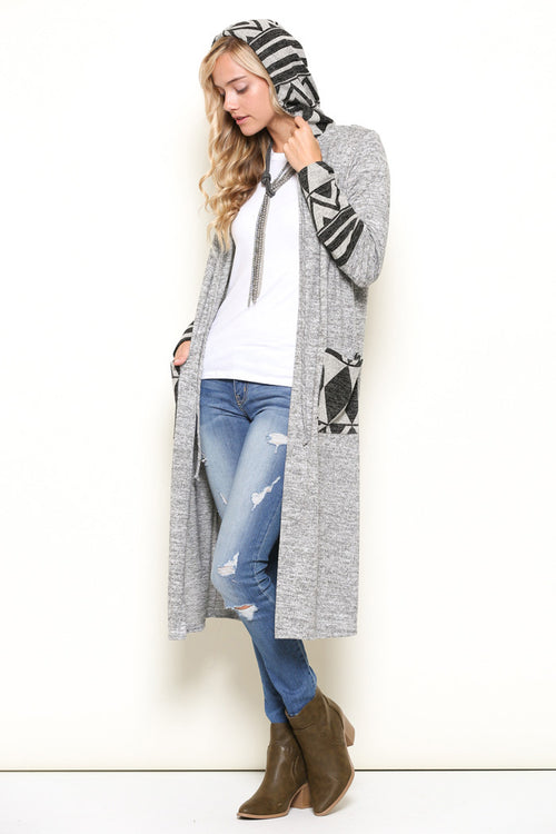 Fiona Hooded Cardigan : Grey