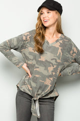 Jamie V-Neck Camouflage Front Tie Top : Camouflage