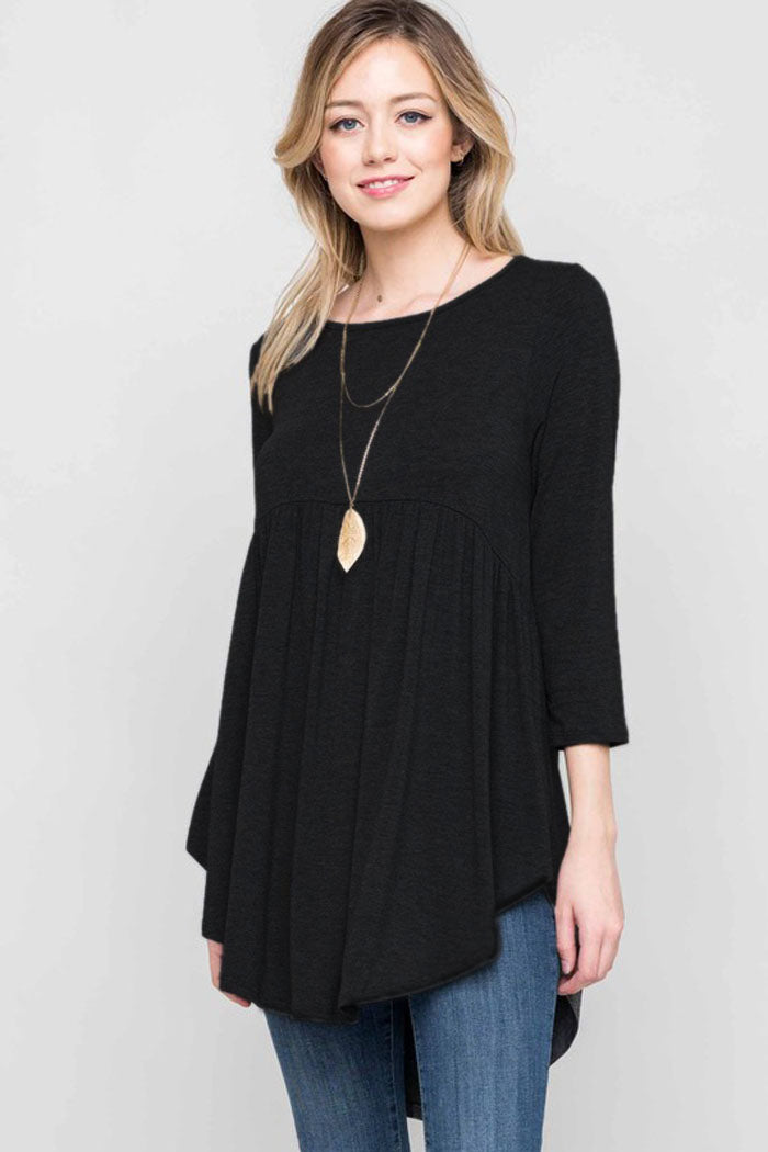 Solid Baby Doll Top : Black