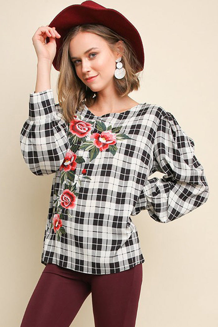 Karla Floral Embroidered Plaid Top : Off White