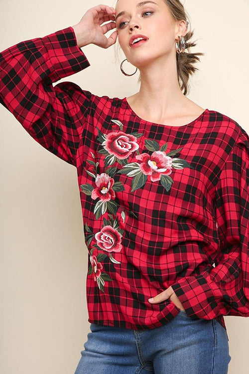 Karla Floral Embroidered Plaid Top : Raspberry