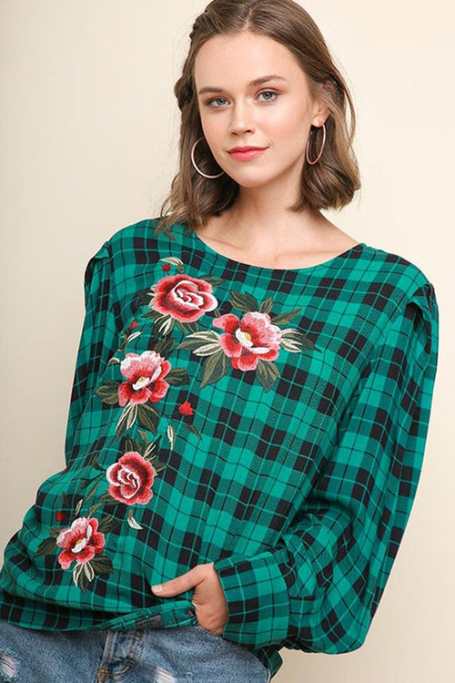 Karla Floral Embroidered Plaid Top : Jade