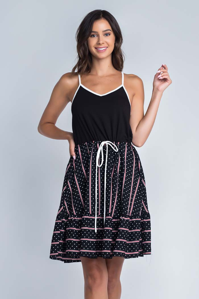 Grace Cami  Twofer Dress : Black/Red Stripe