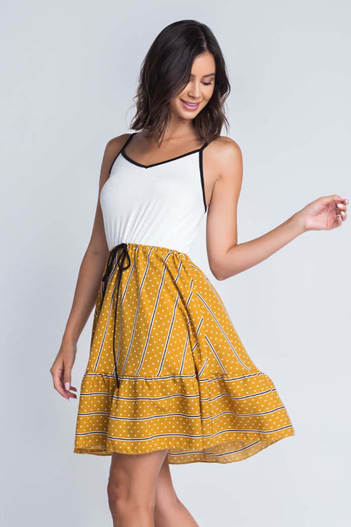 Grace Cami  Twofer Dress : Mustard