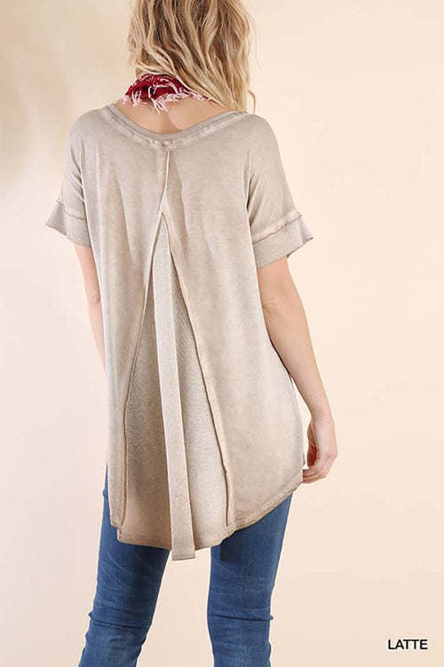 Kyleigh Washed V-Neck Top : Latte