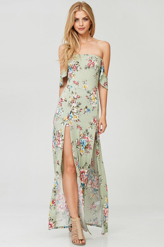 Floral Front Slit Dress - maxi - GOZON