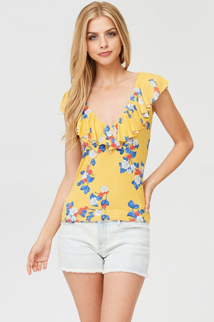 Casual Ruffle Floral Top - Shirts - GOZON
