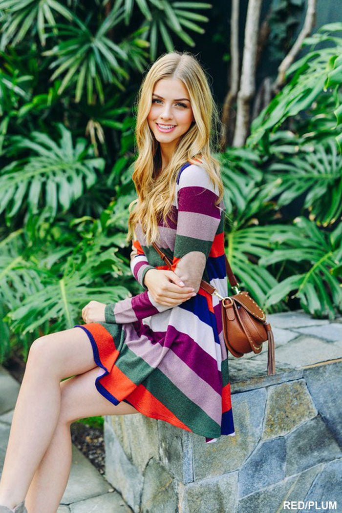 Lovely Color Block Dress - Rust