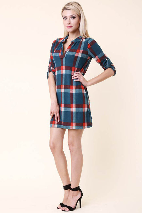 Casual Plaid Mini Dress : Teal