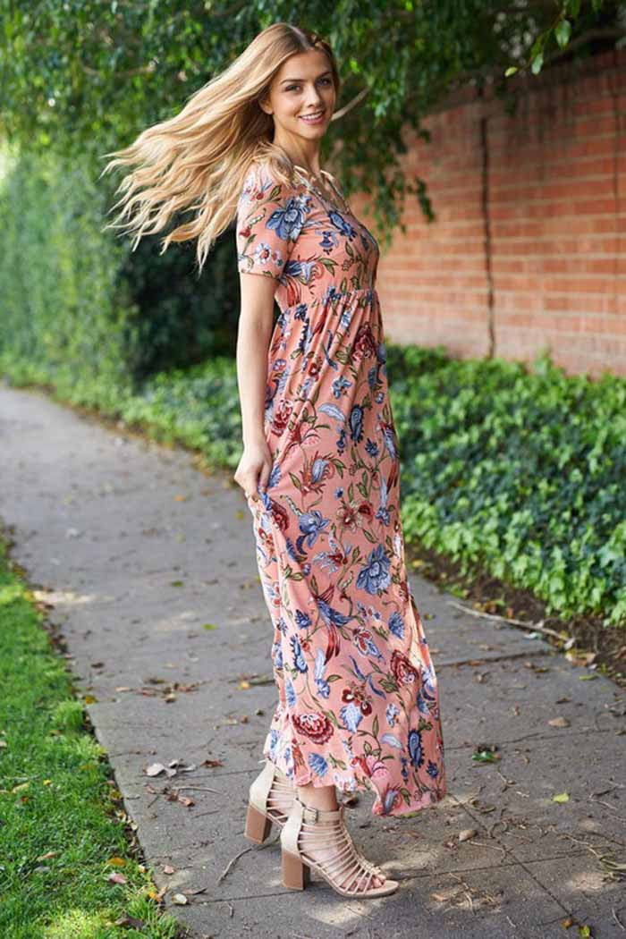 Coral With Floral Maxi Dress - Maxi - GOZON