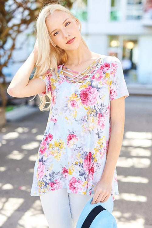 Criss Cross Floral Top - Plus - shirts - GOZON