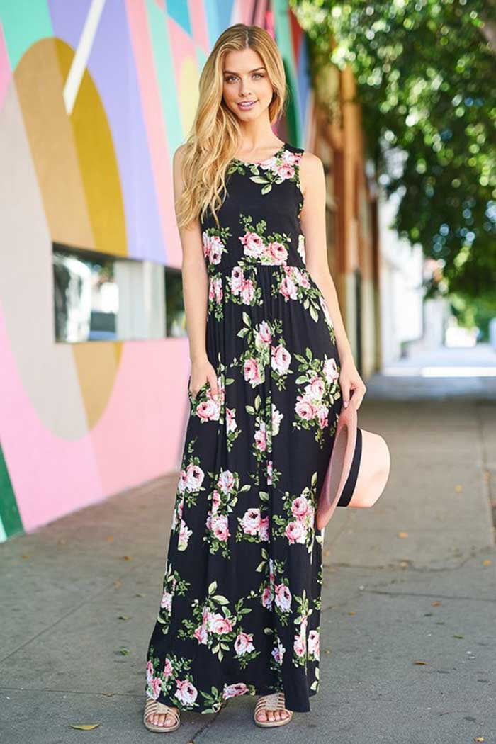 f8651f0739d GOZON Women s Shirred Floral With Sleeveless Summer Maxi Dress ...