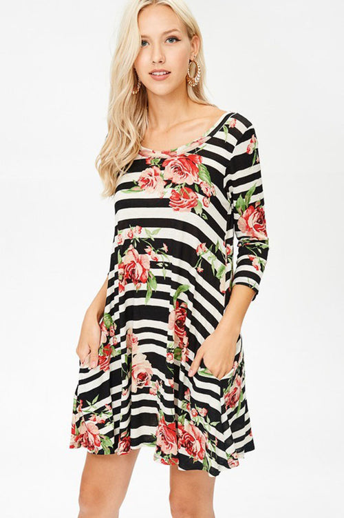 Stripe and Floral Dress - Black