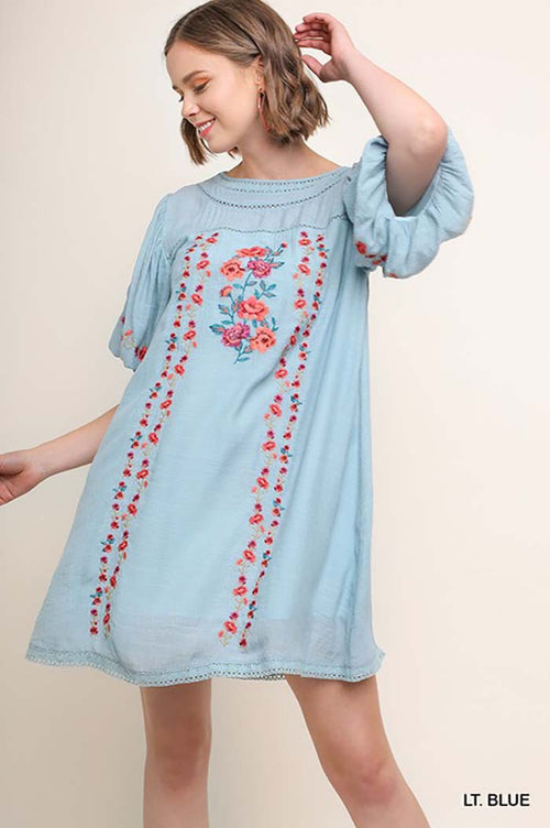 Stella Embroidered Puff Sleeve Dress : Turquoise