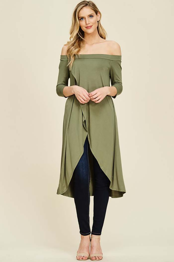 Bella Solid Round Neck Front Wrap Top : Light Olive