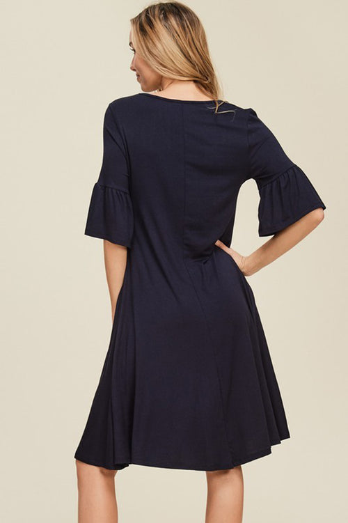 Libby Bell Sleeve Dress : Black