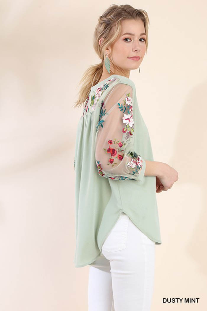 Lydia Puff Sleeve Top : Dusty Mint