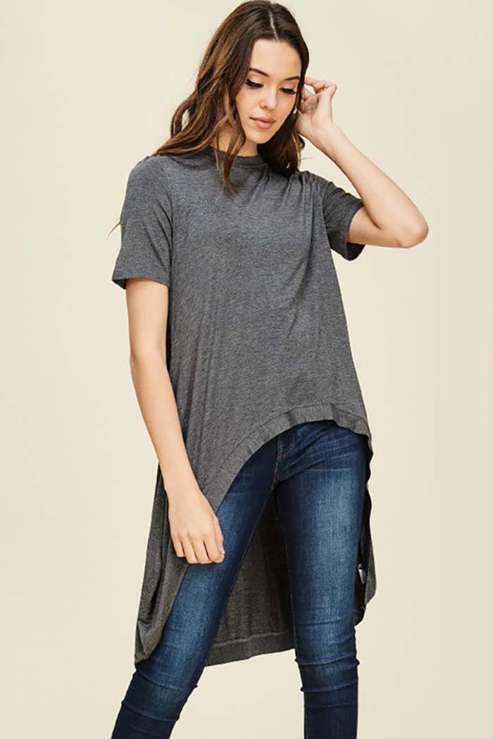 Julissa Short Sleeve Hi-low Top : Oatmeal