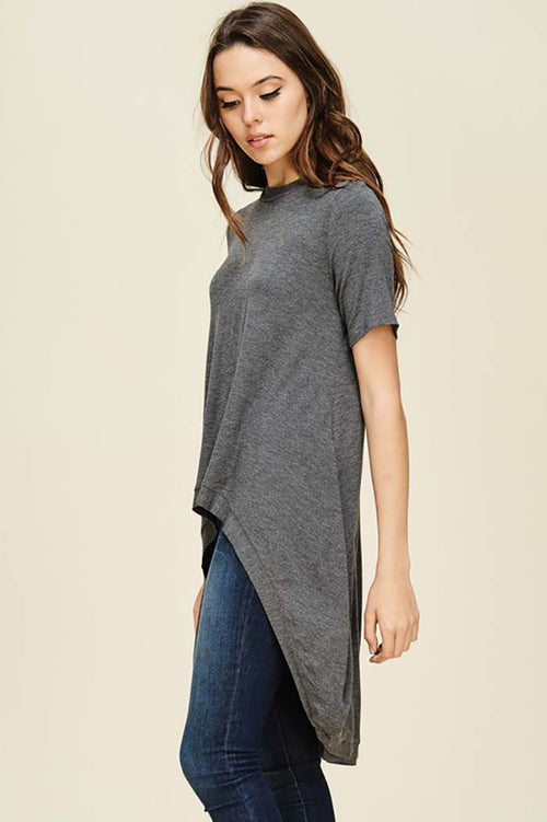 Julissa Short Sleeve Hi-low Top : Mid Grey