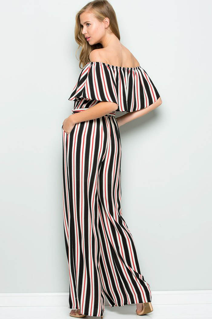 Maria Off Shoulder Jumpsuits : Black