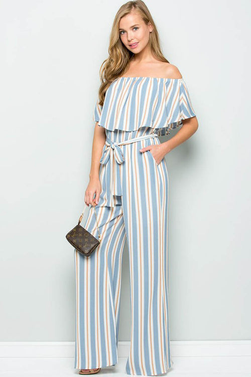 Maria Off Shoulder Jumpsuits : Chambray