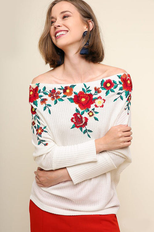 Mary Floral Embroidered Off Shoulder Top : Off White
