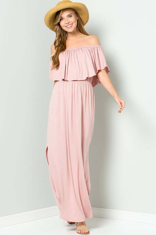 Solid Ruffle Off Shoulder Maxi Dress : Mauve