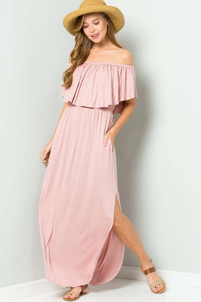 Solid Ruffle Off Shoulder Maxi Dress : Black