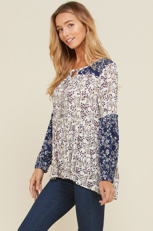 Michele Floral Front Neck Tie Tunic Top : Navy