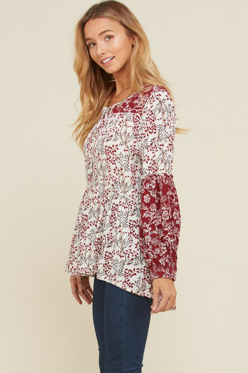 Michele Floral Front Neck Tie Tunic Top : Berry